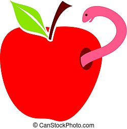 worm in red apple vector illustration