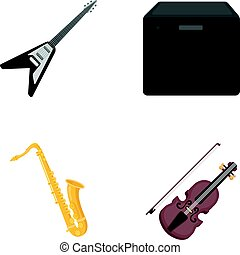 Electric guitar, loudspeaker, saxophone, violin.Music instruments set collection icons in cartoon style vector symbol stock illustration web.