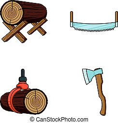 Log on supports, two-hand saw, ax, raising logs. Sawmill and...