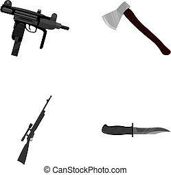 Ax, automatic, sniper rifle, combat knife. Weapons set...