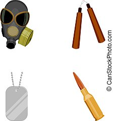 Gas mask, nunchak, ammunition, soldier's token. Weapons set collection icons in cartoon style vector symbol stock illustration web.