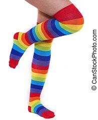 Rainbow Socks - A pair of colourful rainbow over the knee...