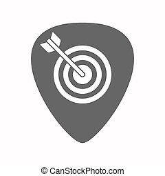 Isolated guitar plectrum with a dart board - Illustration of...