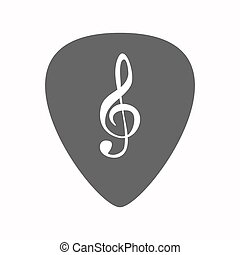Isolated guitar plectrum with a g clef - Illustration of an...