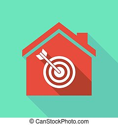Long shadow house with a dart board - Illustration of a long...