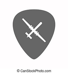 Isolated guitar plectrum with a war drone - Illustration of...