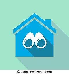Long shadow house with a binoculars - Illustration of a long...