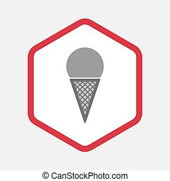 Isolated hexagon with a cone ice cream
