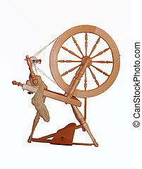 Old Spinning Wheel - Spinning wheel isolated