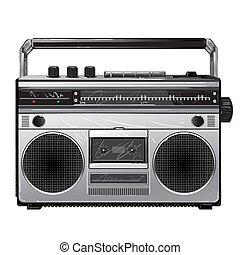 Radio Silver retro radio boom box .Vintage tape recorder for...