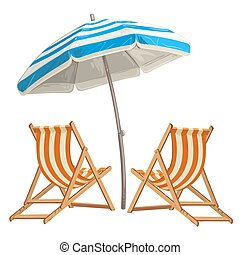Two beach chair with umbrella