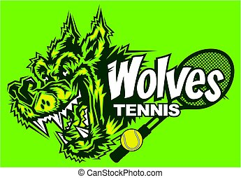 wolves tennis team design with mascot head and racquet for...