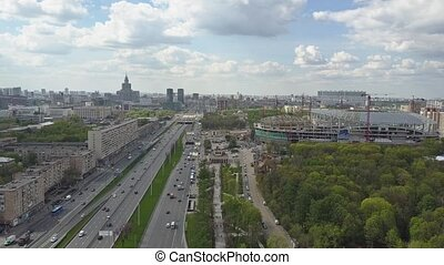 Leningradsky prospekt in Moscow, one of major city avenues -...