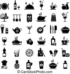 Cooking, kitchen tools, food and drinks icons