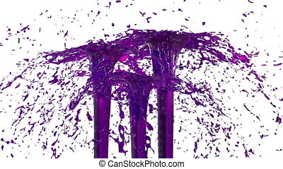 Beautiful fountain spray liquid like violet juice. 3d on white background with alpha channel use alpha mask. Top of a fountain with vortex liquid. Version 26