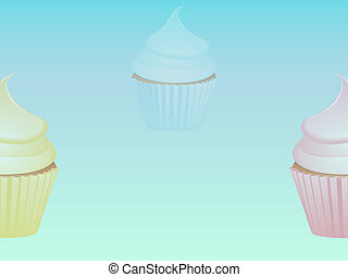 Cupcakes over light blue background