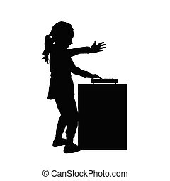 child happy silhouette play music illustration in black