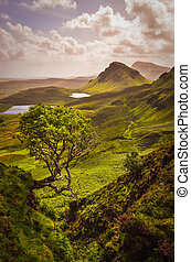 Scenic view of Quiraing mountains in Isle of Skye, Scottish highlands