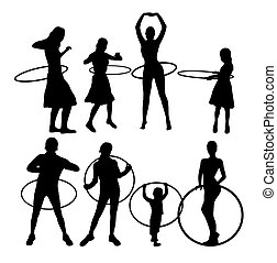 Girl with Hula Hoop Silhouettes - Girl with Hula Hoop Sport...