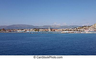 Zante town panorama from the sea on Zakynthos island, Greece...