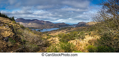 Panorama of Killarney National Park - Mountains and lakes in...