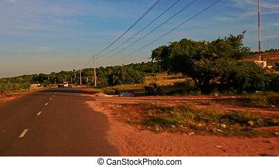 Plain Sunny Rural Landscape with Farm Trees Peasants against...