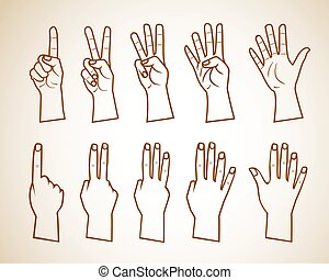 Set of numbers on the hands illustration . just outlines