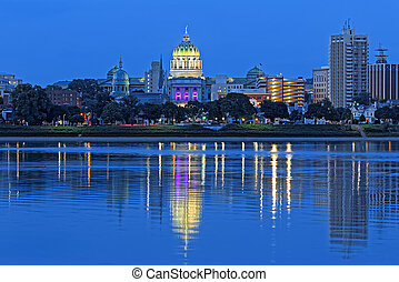 Harrisburg Pennsylvania at Night - Harrisburg Pennsylvania...