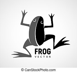 Frog silhouette. Black and white vector logo - Frog...