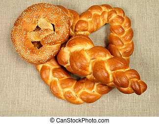 Bread plait - Decorative white bread plait. Polish...