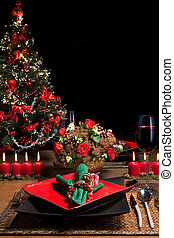 Christmas table 1 - Christmas dinner table with elegant...