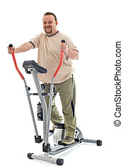 Man exercising on elliptical trainer - Confident overweight...