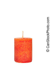A red candle in front of white background