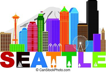 Seattle City Skyline andText Colors Illustration