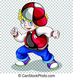 Hiphop boy in red jacket illustration