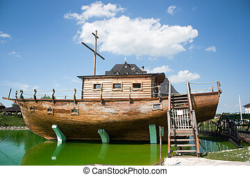 Noahs Ark - Lake in ethno village near Bijeljina, Bosnia and...