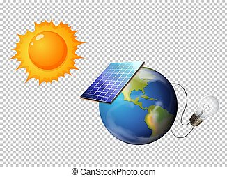 Diagram showing sun and solar cell on earth illustration