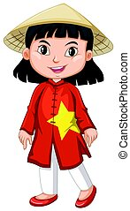 Vietnamese girl in tradition costume illustration