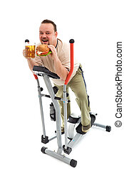 I love exercise - man with large hamburger and beer on...