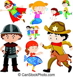 Kids in different costume illustration