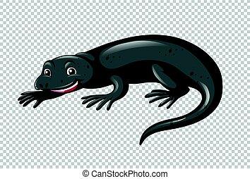 Black lizard on transparent background illustration