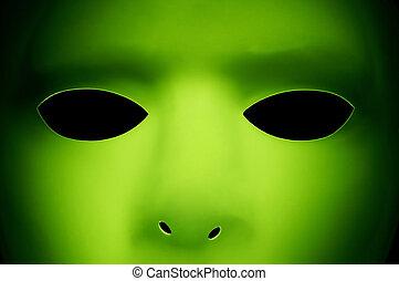 Alien Like Face - A green face that looks like an alien from...