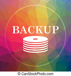 Back-up icon. Back-up website button on low poly background.