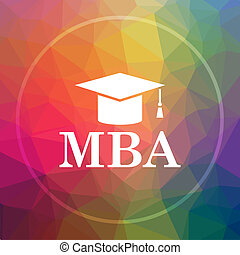 MBA icon. MBA website button on low poly background.