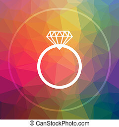 Diamond ring icon. Diamond ring website button on low poly...