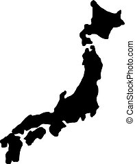 japan map silhouette - vector illustration sketch hand drawn...