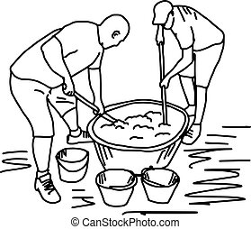 two workers making cement mixing in construction site - vector illustration sketch hand drawn with black lines, isolated on white background