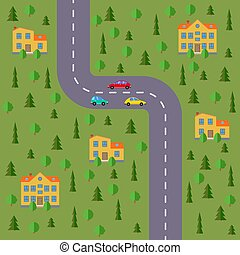 Plan of village. Landscape with the road, forest, cars and houses.