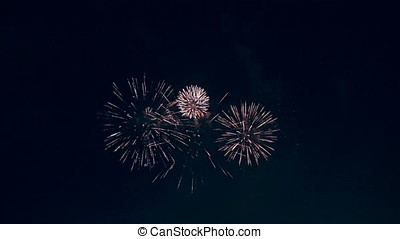 Multiply fireworks are slowly shooteed. - The firewoks...