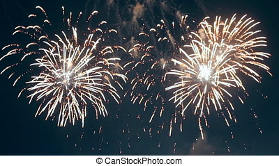 Colourful fireworks are shown in the sky. - Yellow, red and...